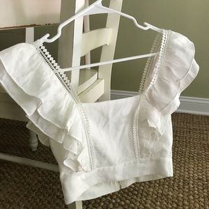 New w/ Tag Cotton White Cropped Summer Top Size S
